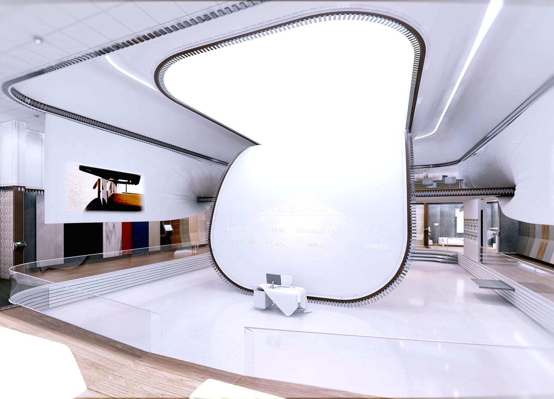 perspectiva interior tienda porcelanosa