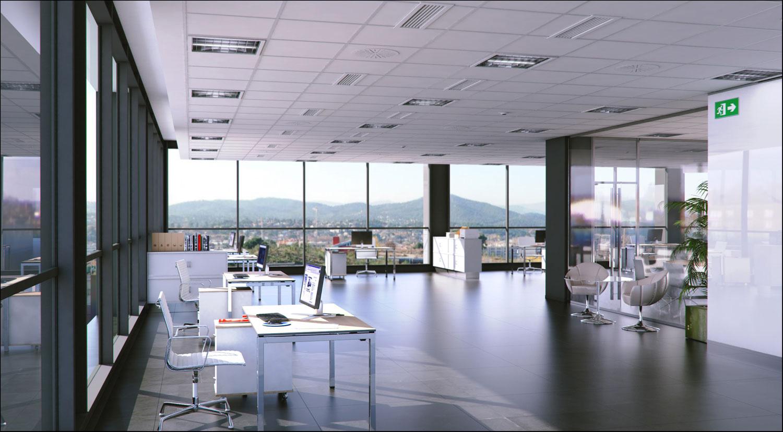 perspectiva 3d oficina en barcelona