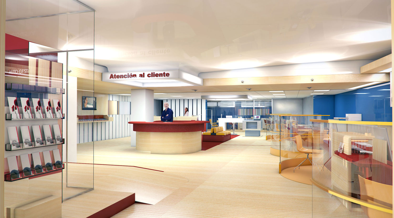 perspectiva interior Banco Popular en Bravo Murillo
